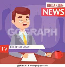 Journalist clipart breaking news