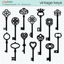 Key clipart retro