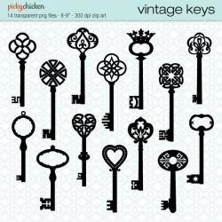 Key clipart retro