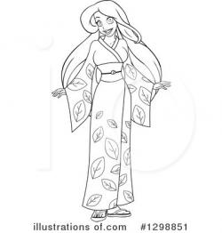 Kimono clipart black and white