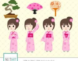 Kimono clipart japanese child