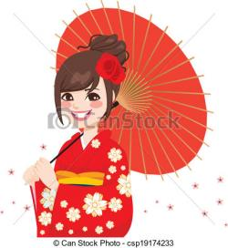 Kimono clipart japanese umbrella
