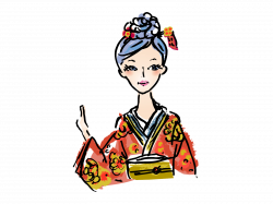 Kimono clipart japanese woman
