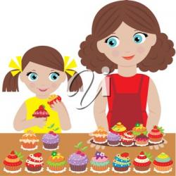 Baking clipart mother daughter