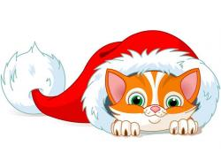 KITTENS clipart christmas santa