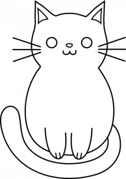 KITTENS clipart line drawing