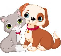 Line Art clipart puppy kitten