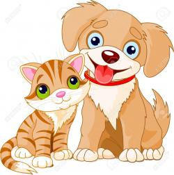 Sketch clipart puppy kitten
