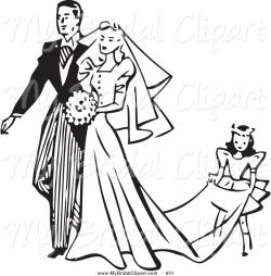 Bride clipart black and white