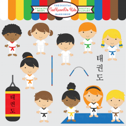 Korean clipart kid martial art