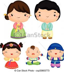 Korean clipart korean family