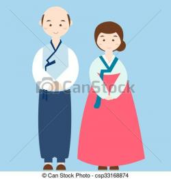 Korean clipart traditional costume