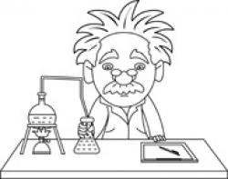 Scientist clipart black and white