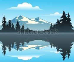 Lake clipart montain