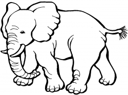 Asian Elephant clipart black and white