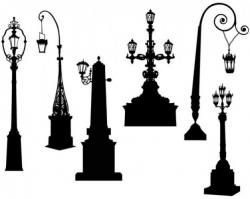 Bench clipart light post