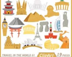 Landmark clipart the world collage