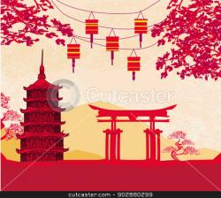 Latern clipart chinese building