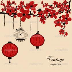 Latern clipart chinese flower