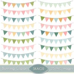 Rustic clipart bunting