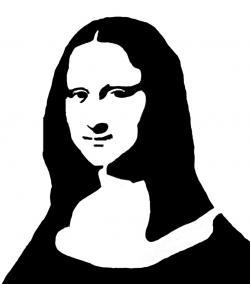 Mona Lisa clipart black and white