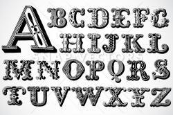 Typeface clipart vintage letter