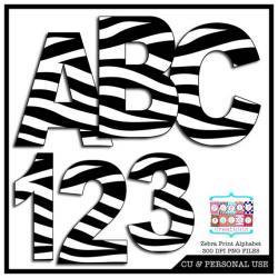 Number clipart zebra print