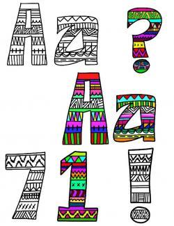 Letter clipart aztec