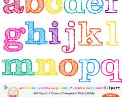 Lettering clipart rainbow