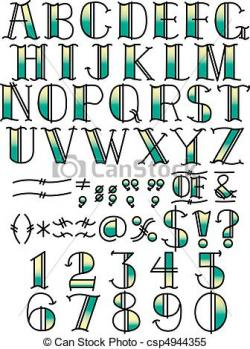 Lettering clipart american traditional