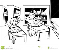 Library clipart black and white