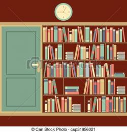 Bookcase clipart library room