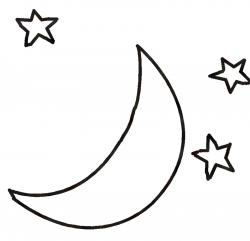 Moonlight clipart black and white
