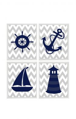 Lighthouse clipart navy blue