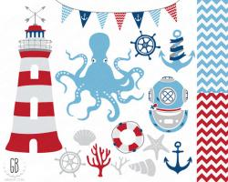Lighthouse clipart red and blue
