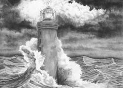 Drawn lighhouse lighthouse storm