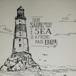 Drawn lighhouse coast