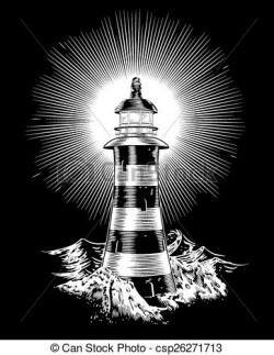 Lighthouse clipart wave drawing