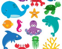 Seafood clipart ocean theme