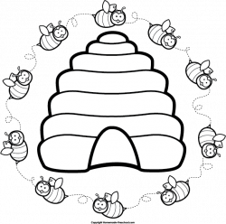 Bee Hive clipart line drawing