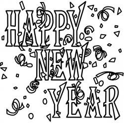 New Year clipart black and white