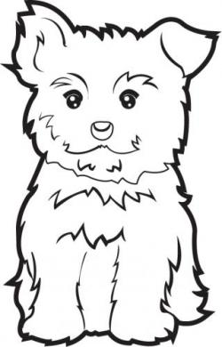 Yorkies clipart black and white