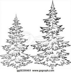 Lines clipart pine tree