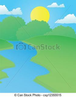 River Landscape clipart summer