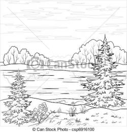 River Landscape clipart black and white