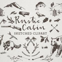 Sketch clipart rustic cabin