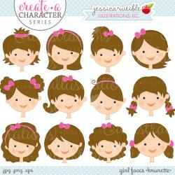 Brunette clipart cute woman