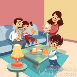Living Room clipart family responsibility