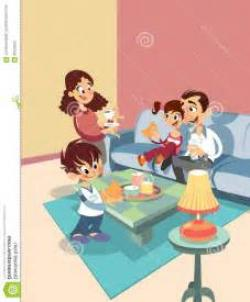 Living Room clipart happy family