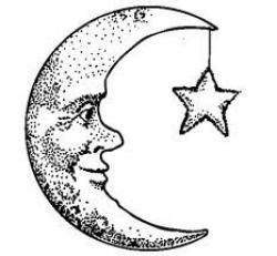 Drawn moon crescent moon